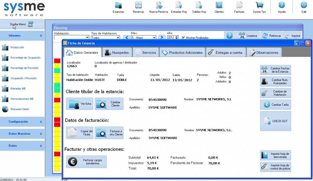 Software Pms de gestión hotelera Sysme Hotel 4.29