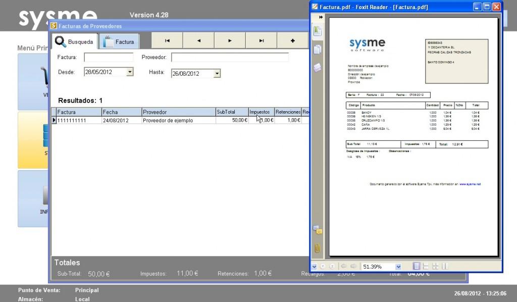Software Tpv Sysme Tpv 4.28 facturas de proveedores