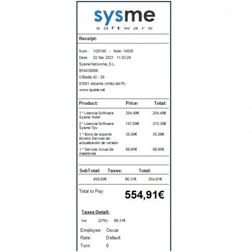 Formato de Ticket 80mm en Inglés