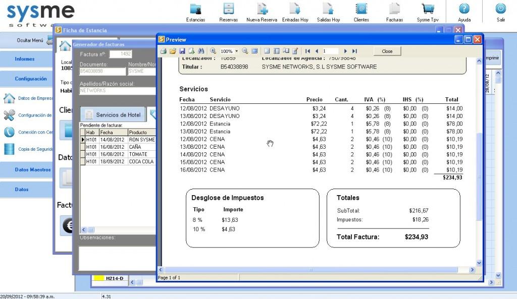 Software Pms de gestión hotelera Sysme Hotel 4.31