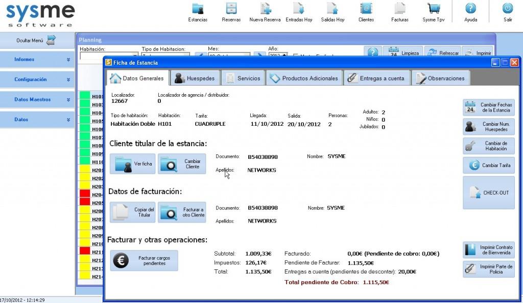 Software Pms de gestión hotelera Sysme Hotel 4.32