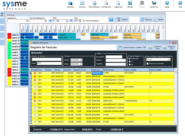 Software pms de gestión hotelera Sysme Hotel 4.34